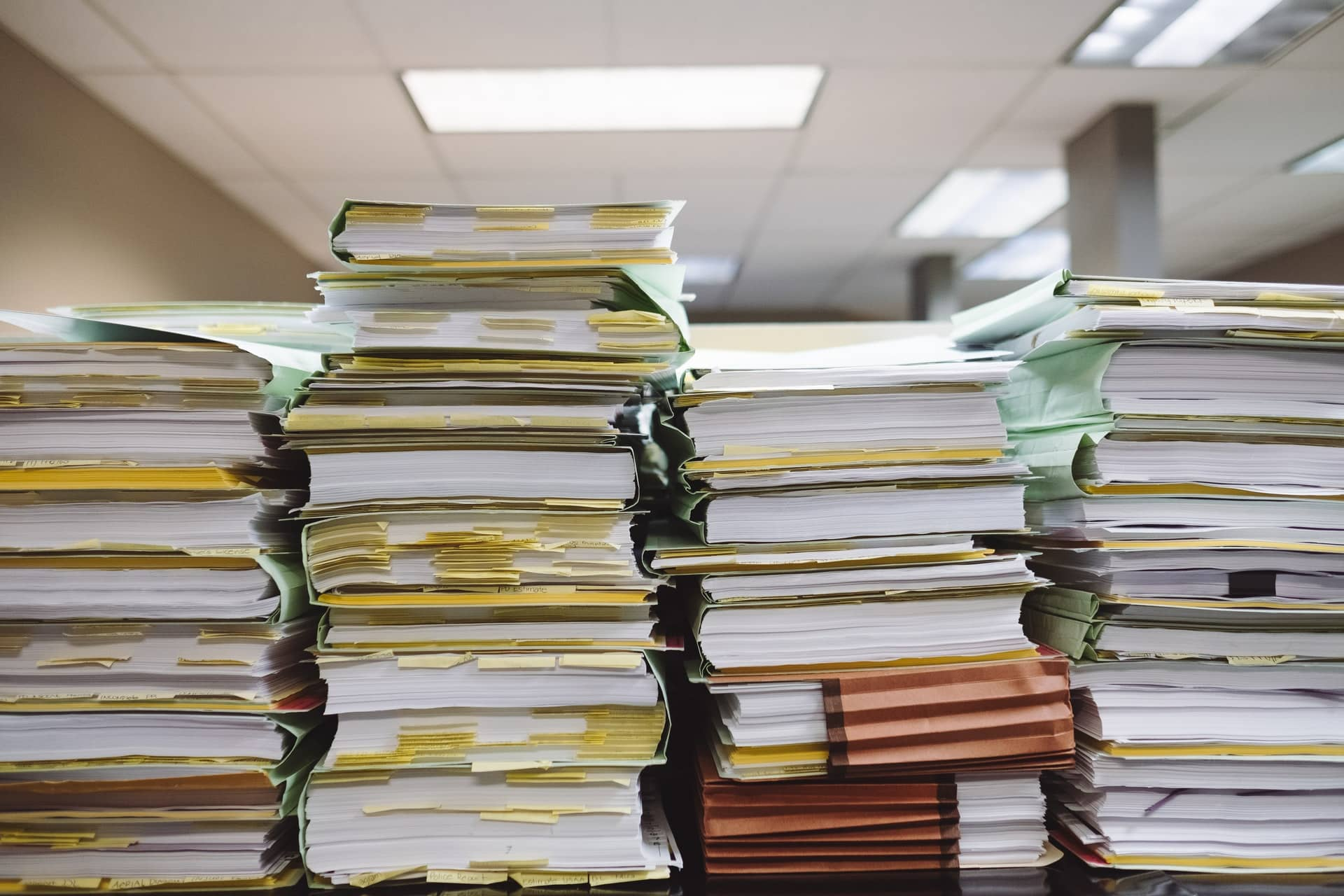stacks of books and paper