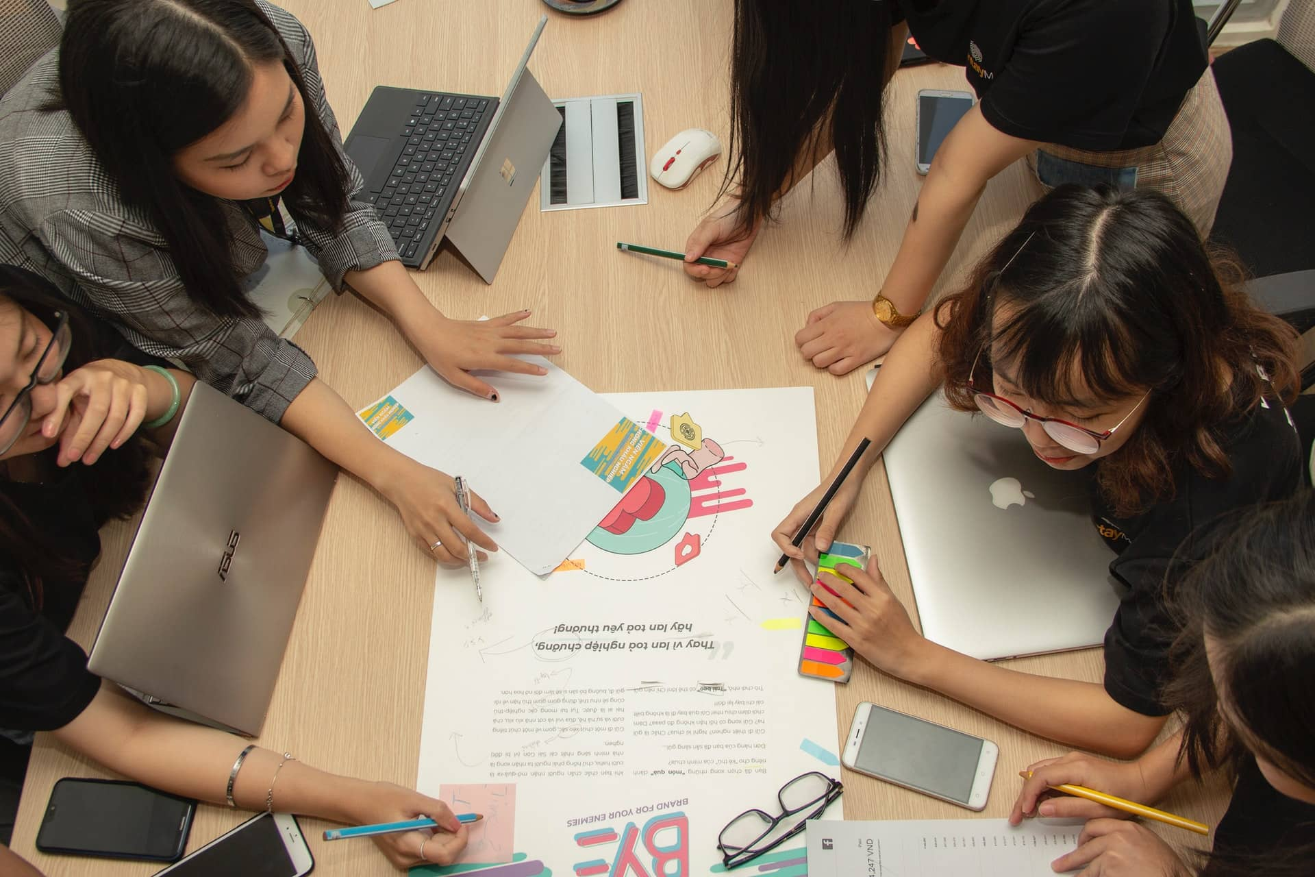 students in creative meeting